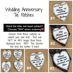 You know we have wedding tie patches BUT NOW...we also have Anniversary Tie Patches!!!!!!!!!!!!!!  Now, not only can you give your groom a wedding tie patch...you can give your husband a wedding anniversary tie patch!!!!  Patch can be worn on the back side on a necktie or inside a jacket or anywhere you can sew, pin or iron on!!
