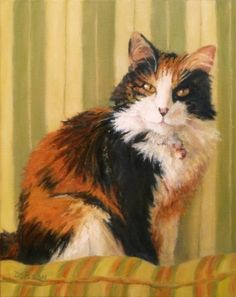 Calico Softness Oil Painting Cat Art Pet Portrait Feline, painting by artist Debra Sisson