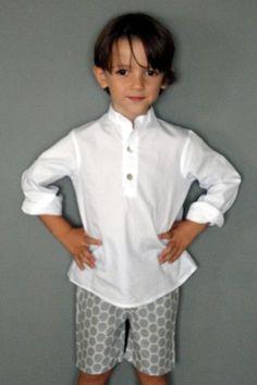 Camisa niño cuello mao en popelin blanca