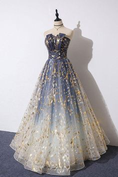 Buy Charming Blue Floral Print Tulle Strapless Long A Line Prom Dresses, Dance Dresses online.Shop short long ombre prom, homecoming, bridesmaid evening dresses at Couture Candy Cocktail party dresses, formal ball gowns in ombre colors. Prom Outfits, A Line Prom Dresses, Tulle Prom Dress, Pretty Prom Dresses, Dance Dresses, Ball Dresses, Elegant Dresses, Cute Dresses, Beautiful Dresses