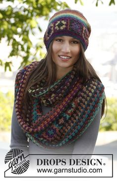 Hat, cowl and wrist warmers---DROPS