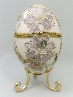 Vintage Flower Appliqués on Egg Jewelry Box by NatalieOrigStudio,:):):