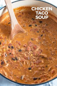 This creamy chicken taco soup is great for busy weeknights! It is packed with fl… This creamy chicken taco soup is great for busy weeknights! It is packed with flavor, can be spicy if you want, and works great as leftovers for lunch. Chicken Taco Soup, Chicken Tacos, Chicken Recipes, Best Soup Recipes, Favorite Recipes, Healthy Recipes, Keto Recipes, Chili Recipes, Lunch Recipes