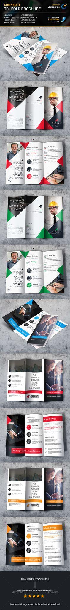 Corporate Trifold Brochure Template PSD Bundle
