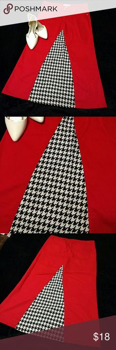 Houndstooth skirt This was a pair of pants made into a skirt! Perfect for you roll tide fans!!!:) The waist is 35 inches round and the length is about 35 inche Skirts