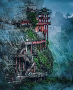 Fantasy Art Landscapes, Fantasy Landscape, Beautiful Places To Visit, Beautiful World, Beautiful Gif, Amazing Places, Terra A Vista, China Temple, Places To Travel
