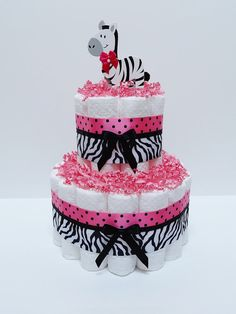 Hot Pink Safari Diaper Cake Baby Shower door LanasDiaperCakeShop, $26.99