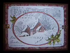 Christmas card I created using the snowy postcard stamp from stampendous. Very little color added to the stamp make a great look.