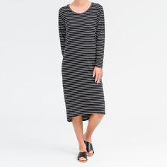 Midi Long Sleeve Dress in black breton stripe certified organic cotton.  Ideal right now