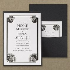 Deco Divine - Invitation - Framed with some showy art deco, this white shimmer invitation and pocket exhibit serious glam. Black And White Wedding Invitations, Affordable Wedding Invitations, Beautiful Wedding Invitations, Pocket Invitation, Pocket Wedding Invitations, Art Deco Invitations, Wedding Insurance, Art Deco Wedding, Gatsby Wedding