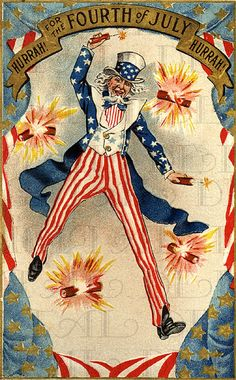 Americana - Uncle Sam with Firecrackers - vintage post card