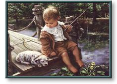 Gone Fishing by Sandra Kuck Young Boy Fishing Puppy Dog Boy Fishing, Fishing Bait, Fishing Rods, Earth Design, Paintings I Love, Heaven On Earth, Vintage Children, Art Children, American Artists