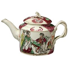 Antique Staffordshire pottery creamware teapot by Greatbach circa 1780 | 'The fortune teller'
