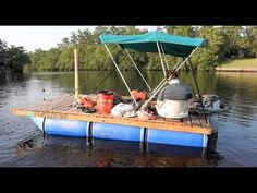 My Cheap Homemade Barrel Pontoon Party Barge, Floating Dock, Diy Boat, Water Toys, Outdoor Furniture Sets, Outdoor Decor, Boat Building, Lake Life, Fishing Tips