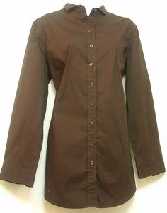 Chico's size 2 Large 12 Brown Button Up Shirt Women's Long Sleeve   #Chicos #ButtonDownShirt #CareerCasual