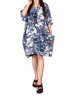 Sale 11% (9.89$) - Casual Women Printing Pocket Cotton Linen Lantern Mini Dress