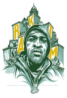 Rakim poster for in-store appearance at Vintage Vinyl. Illustrated in Adobe Ideas on the iPad and finished in Adobe Illustrator. Printed as 3 color screen print on white.