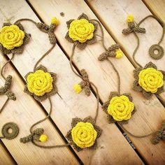 Mustard Yellow Crochet Rose Garland designed and handmade by © Elvira Jane