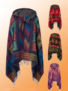 $18.59 Ethnic Printed Loose Tassel Horn Button Hooded Women Cape