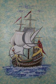 minyatür kalyonlar - Google'da Ara Illumination Art, Ship Drawing, Persian Motifs, Turkish Art, Islamic Art Calligraphy, Ship Art, Tile Art, Architecture Art, Painted Rocks
