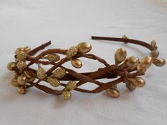 Rustic Elven or Celtic Gold Pip Berry Fascinator by FlowerFair, $19.95