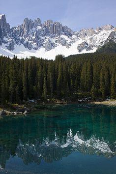 Carezza Lake and the Dolomites, Italy. The most beautiful Mountain Lake