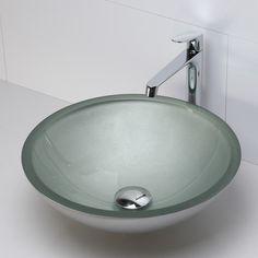 POWDER BATH: DecoLav Translucence Round 19mm Glass Vessel Bathroom Sink $140
