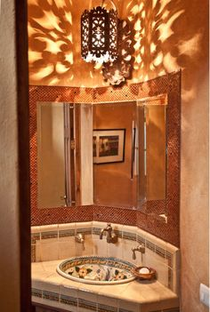Tile #backsplash and countertop. #bathroom #design