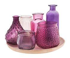 Set de 6 floreros en vidrio y plato de madera Colourful