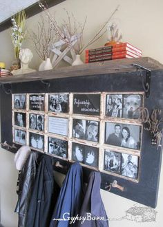old door made into a shelf  could use an old window as well!