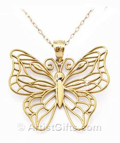 14k Gold Monarch Butterfly Necklace Butterfly jewelry Butterfly