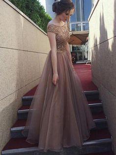 Backless Off Shoulder 2018 Rhinestone Long Evening Prom Dresses, 17665