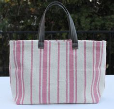French market tote. Pink on cream stripe.   Email me at mrslemon@sbcglobal.net for more information and to have one shipped to you.