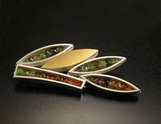 Silver Gemstone Leaf Brooch