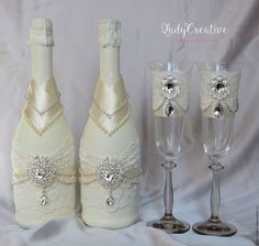 Not this exactly but something along this path. Bride And Groom Glasses, Wedding Wine Glasses, Wedding Champagne Flutes, Wedding Bottles, Champagne Bottles, Wine Bottle Crafts, Bottle Art, Bling Bottles, Sweet 16 Centerpieces