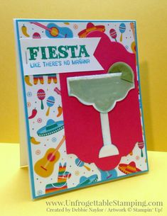 Unfrogettable Stamping | Fabulous Friday Celebrate Summer card featuring the Birthday Fiesta stamp set and coordinating Festive Birthday DSP and margartia drink punch art created from various punches by Stampin' Up!