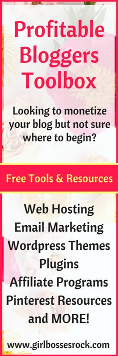 Not sure where to find the tools & resources you need for your blog? This list is everything I've used for my blogs and affiliate marketing! #bloggingtips #AffiliateMarketing #webhosting #wordpress #pinterestmarketing #Blogging #PLUGINS #freestockphotos