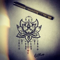 Lotus flower tattoo design, henna lotus