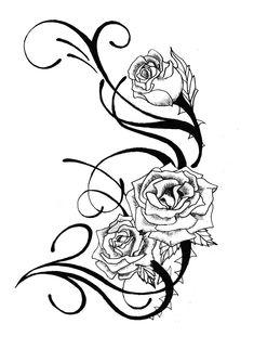 9 Best Rose Tattoo Stencils images | Tattoo stencils, Rose ...