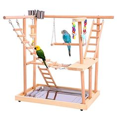 rx online Wood Parrot Playground Perches with Swing. Great Bird Training Play Stand for Pa… Wood Parrot Playground Perches with Swing. Great Bird Training Play Stand for Parakeets African Grey Conures Cockatiel Cockatoos. Bird Play Gym, Parrot Play Stand, Parakeet Toys, Diy Cockatiel Toys, Cockatiel Care, Diy Bird Toys, Diy Parrot Toys, Parrot Perch, Pet Bird Cage