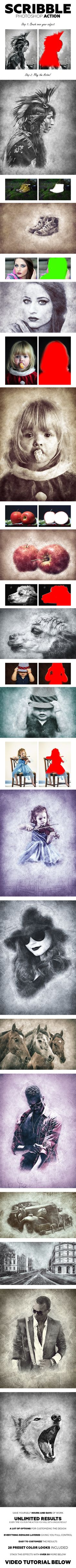 Scribble Photoshop Action  #photo effects #sketch • Download ➝ https://graphicriver.net/item/scribble-photoshop-action/18407539?ref=pxcr