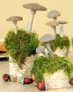 """DIY Clay Mushrooms  -Shrooms!  Other Pinner said- """"I often make molds of real mushrooms and cast them in cement for use in garden or pots and we sell them at shows but these are cute too!"""""""