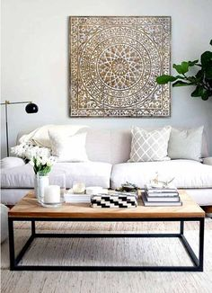 Decorate With Mandalas, Inner Peace for your home Decor Interior Design, Interior Decorating, Living Room Designs, Living Room Decor, Morrocan Decor, Metal Homes, Decorating Your Home, Decorating Ideas, Decoration
