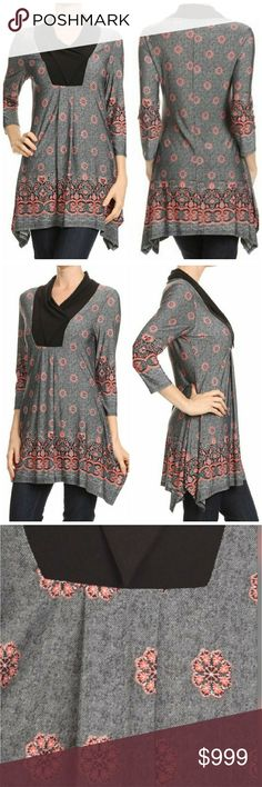 Coming soon! Relaxed tunic with print Print, waist length 3/4 sleeves top in a relaxed style with asymmetric hem and pleated detailing. 92% polyester, 8% spandex. Made in USA.  Like to be notified when in. Price: $43 Tops Tunics