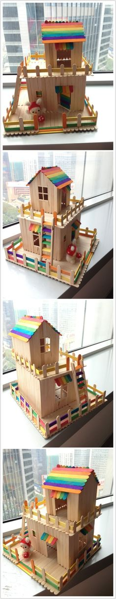 ice cream stick doll house idea by MarylinJ Kids Crafts, Summer Crafts, Crafts To Do, Projects For Kids, Diy For Kids, Diy Projects, Summer Diy, Summer Ideas, Popsicle Stick Houses
