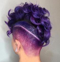 curly purple undercut