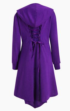 Plus Size Long High Low Hooded Coat