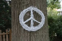 Peace Sign Grapevine Twig Wreath white by tadaworkshop.com on Etsy