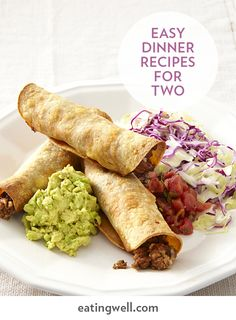 Just because you're only cooking for two doesn't mean you have to waste food or eat the same meal several nights in a row. Our healthy recipes for two include delicious dinner ideas like crispy Oven-Fried Beef Taquitos, zesty Chicken Taco Bowls, creamy Spaghetti Carbonara with Peas and flavor-packed Smoky Mustard-Maple Salmon.