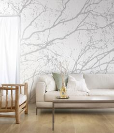 Modern Wallpaper Patterns, Trees and Branches Modern Wallpaper, Wall Wallpaper, Pattern Wallpaper, Wallpaper Ideas, Tree Branch Wallpaper, Tree Wallpaper Living Room, Amazing Wallpaper, Wallpaper Designs, Nature Wallpaper